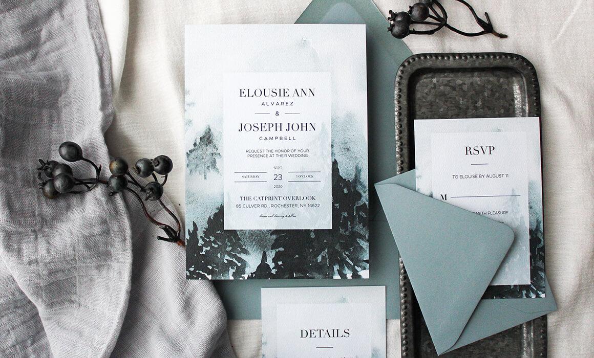 Custom Winter Wedding Invitation Suite